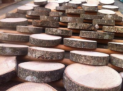 Set of 20x Real Rustic wood Log Slices Tree Ash piece Table Round Chic 10-12Cm