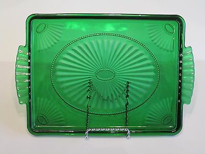 Anchor Hocking Art Deco Shell Pattern Forest Emerald Green Handled Dresser Tray