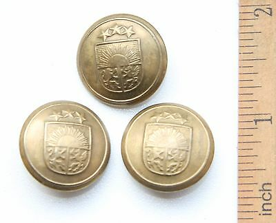 3 x Latvia Republic Military Brass Buttons