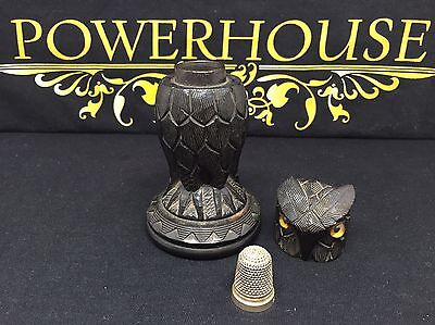 Victorian Carved Irish Bog Oak Silver Thimble Holder In The Form Of An Owl