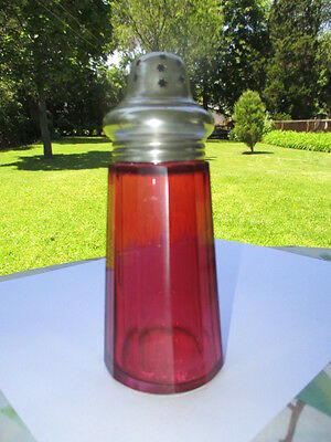 Antique Cranberry Glass Powdered Sugar Castor Shaker Pierced Stars In Top