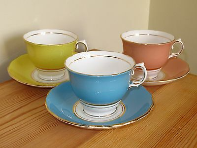 Three Vintage Colclough China Teacup And Saucer Duos Harlequin Multicoloured