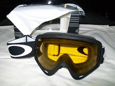 BLACK Oakley O Frame TINT YELLOW Motocross Goggles + spare genuine clear lens