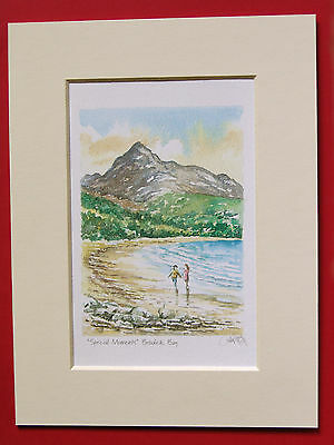 LOCH AFFRIC SCOTLAND CHARMING MOUNTED WATER COLOUR PRINT 8 X 6 OVERALL P GRAY