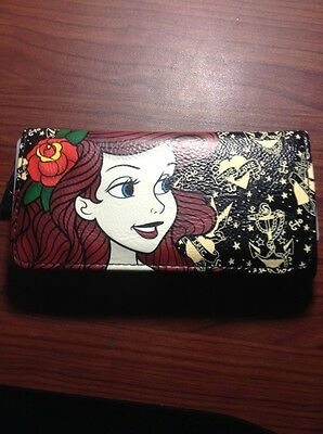 Disney The Little Mermaid Ariel Tattoo Trifold Flap Wallet New With Tags!