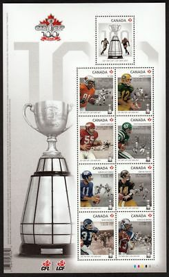 ca. Football GREY CUP Large Embossed Souvenir sheet of 9 sts, Canada 2012 #2567