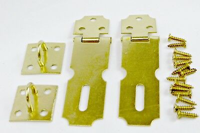 2 Pack Brass Hasp Set Cabinet Gate Door Latch Security Lock Rustproof Hardware