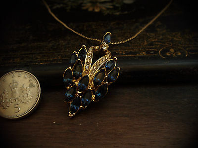 Vintage Montana Blue Crystal Pendant Necklace with Gold Chain