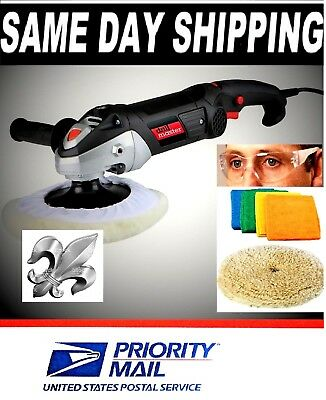7 in. 10 Amp Variable Speed Pol  W/GLASSES, POLISHING PAD & 4pk. CLEANING CLOTHS