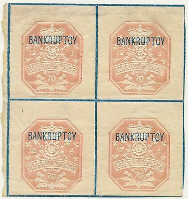 1869 8d BANKRUPTCY Die A BLUE LINES MINT RARE BLOCK/4  REVENUE FISCAL DUTY TAX
