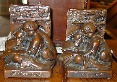 Antique Signed Weidlich Bros copper clad bookends-Companions'-------15099