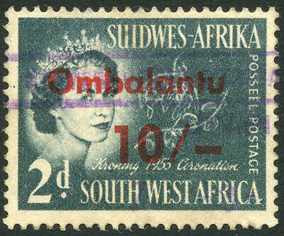 SOUTH WEST AFRICA SWA OMBALANTU TRIBAL TAX 10/-  on 1953 2d CORONATION REVENUE