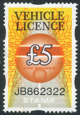 1985 Gb £5 Vehicle Tax Stamp Unmounted Mint Mnh Revenue Tax Duty Fiscal