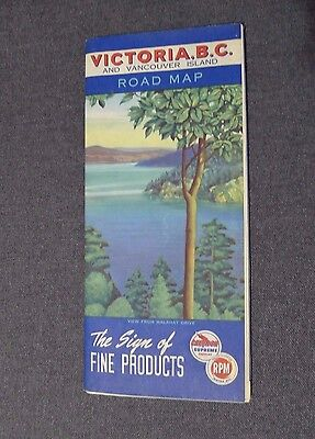 1951 Victoria BC Road Map Chevron Gas And RPM Motor Oil Vancouver Island