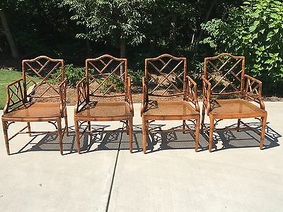 4 Vintage FAUX BAMBOO Chinese Chippendale ARM CHAIRS  Hollywood Regency