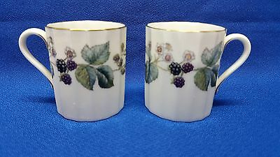 2 Royal Worcester Lavinia Pattern Bone China Demitasse Cups Excellent Condition