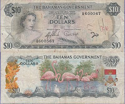 Bahamas 10 Dollars Banknote 1965 Choice Fine Condition Cat#22-A-00567