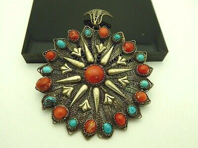 Vintage Egyptian Revival Silver Coral Turquoise Filigree Starburst Large Pendant