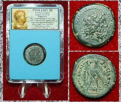 Ancient Coin Of PTOLEMY III Zeus and Eagle Tyre Mint Museum Quality Coin!