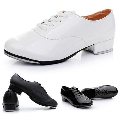 Newly Men Tap Dance Shoes Skidproof Lace Up Square Heel Male Step Dancing Shoes