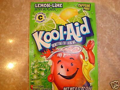 30 Kool Aid Drink Mix LEMON LIME Summer flavor popsicle taste citrus Vitamin C