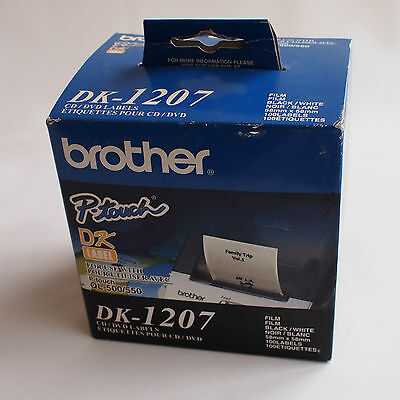 Brother DK-1207 CD DVD labels for P-Touch Label Makers DK Label Film Black White