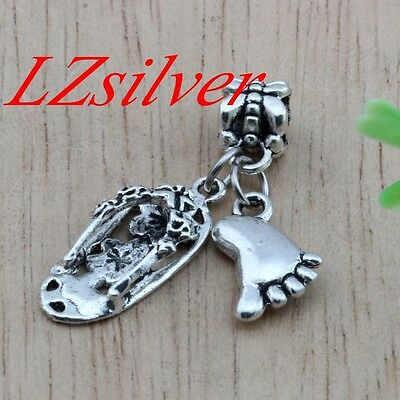 10pcs Ancient silver Flip flop & feet Charm Dangle for European Bead Bracelet