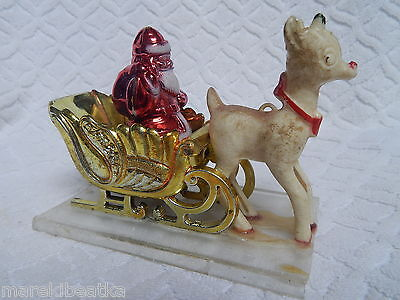 Vtg Plastic  Santa Claus With Reindeer Christmas Retro Decoration