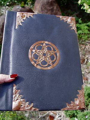 BOOK OF SHADOWS WITH COPPER & PENTACLE Wicca Pagan Witch Goth SYNTHETIC LEATHER