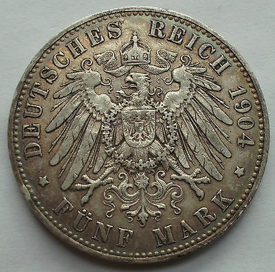 GERMANY EMPIRE (PRUSSIA) 1904 SILVER 5 MARK KM523 toned, no cleanning very nice