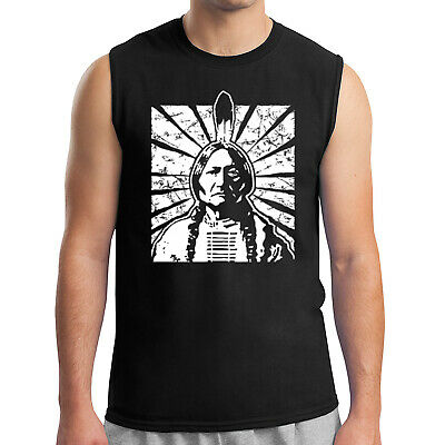 Sitting Bull Men's Sleeveless Vintage Indian Tribal Chief Muscle Tee - 1359C