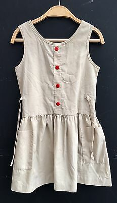 Vintage Girls 70s 80s Woolworths Beige Safari Cotton Day Dress Age 5