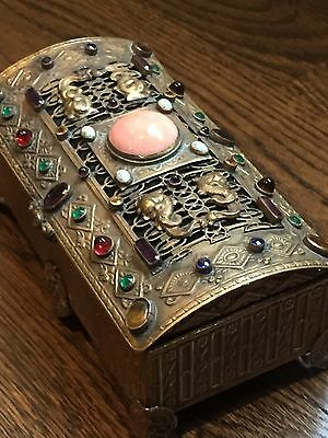 Superb Antique La Tausca Pearls Jeweled Jewelry Box Casket Faux Coral Rhinestone