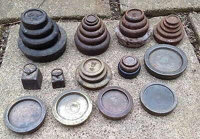 32 vintage IMPERIAL weighing scale weights IRON BRASS CRANE SIDDONS -REF3
