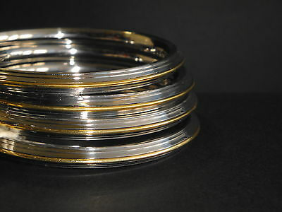 New Sikh Kara Centered Gold trim Stainless Steel Thick Bangle
