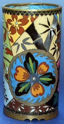 Antique Chinese Oriental Cloisonne Enamel Vase With Flower Decoration
