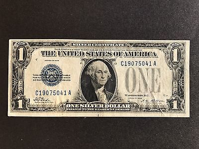 "USA - $1 Dollar bill Silver Certificate, blue seal, Series of 1928, ""FUNNY BACK"""
