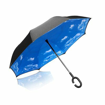 Inverted Umbrella Double Layer Cars Reverse Umbrella, Windproof UV Protection