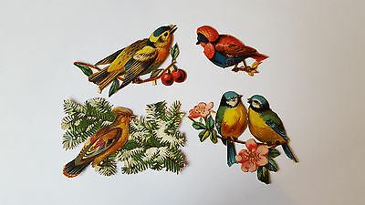 Victorian Die Cut Scraps - BIRDS in TREES - 4 Different Scraps