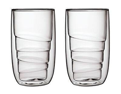 QDO Elements Wood Set of 2 Glasses Large Tumbler Drinks Earth Metal Fire Water