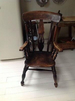 Antique Carver Chair With Arm Rest And A Lovely Warm Patina