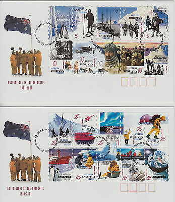 AAT 2001 Aust in the AAT First Day cover strips 5 sheet stamps