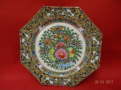 RARE OCTAGON Chinese EXPORT Porcelain BUTTERFLIES FAMILLE ROSE PLATE Flowers