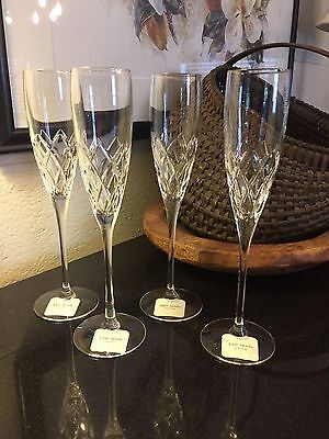 """Set of 4 Lenox Kate Spade Downing Cuts 10 1/4"""" Toasting Champagne Flutes Glasses"""
