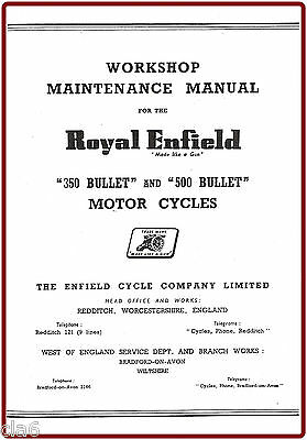 Royal Enfield 350 and 500 Bullet Workshop Manual 1956-61 *NEW
