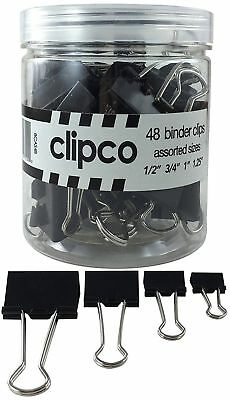 Clipco Binder Clips Jar Assorted Sizes Micro Mini Small and Medium (48-Pack)