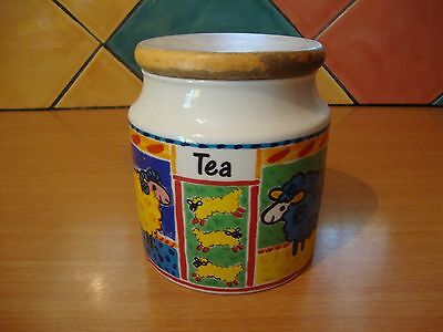 Dunoon Stoneware Farmyard by Jane Brookshaw Tea Caddy with delightful sheep