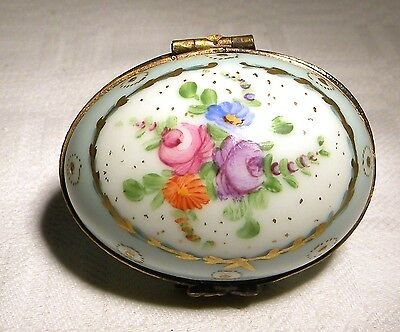 Limoges Trinket / Pill Box Signed Dubarry  Floral Egg