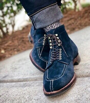 Handmade Men Navy Blue Suede Lace Up Ankle High Boots, Men Blue Suede Boots