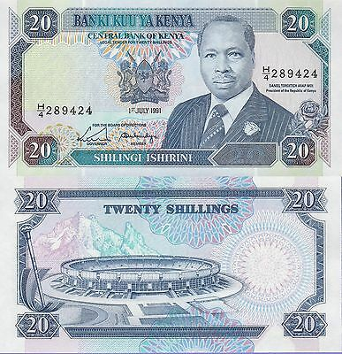 Kenya 20 Shillings Banknote,1991 Uncirculated Condition Cat#25-D-9424
